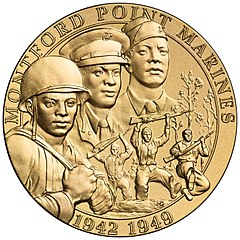 Gold Medal with images of Montford Point Marines