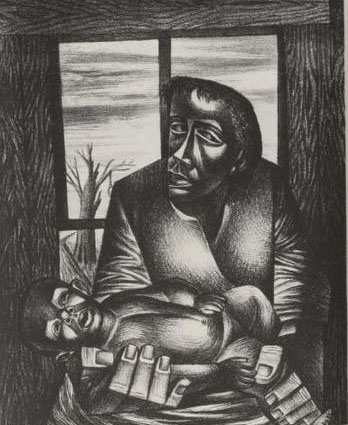 This drawing depicts the depression and weight of discrimination and micro aggression on people of African origin